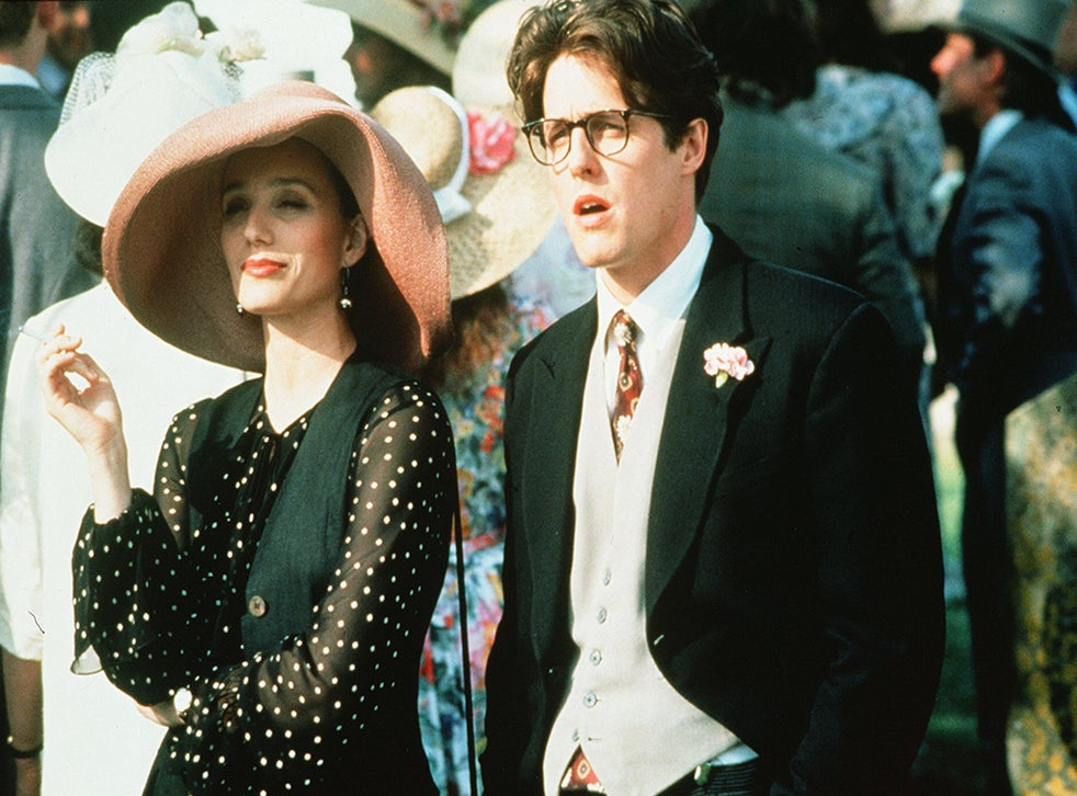 Kristin Scott Thomas and Hugh Grant in 'Four Weddings and a Funeral' (Rex )