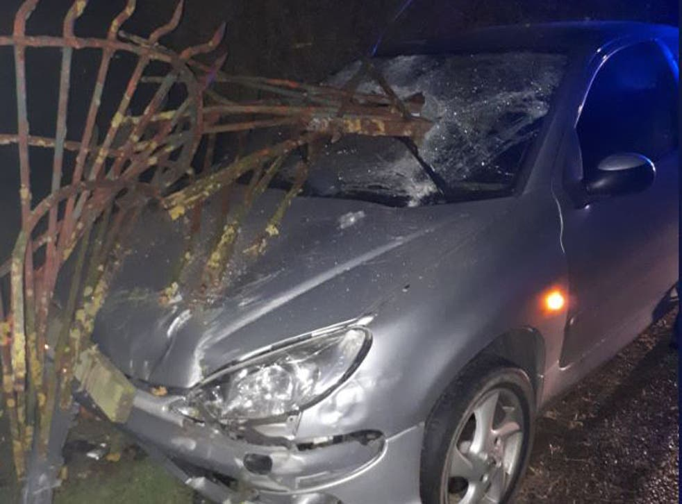 Image from the scene of the car crash