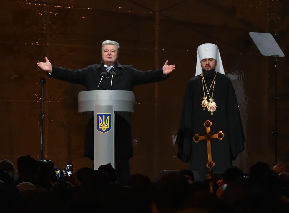 Ukraine's leader celebrates the historic split from Moscow Orthodoxy