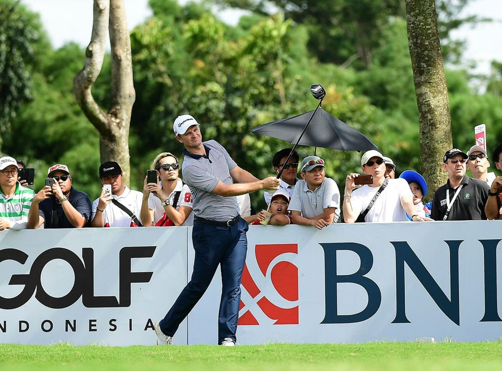 Justin Rose in action at the Royale Jakarta Golf Club