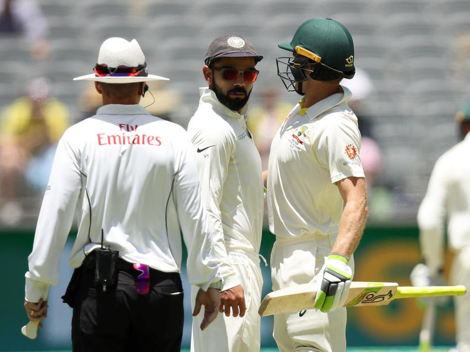Virat Kohli and Tim Paine getting Physical