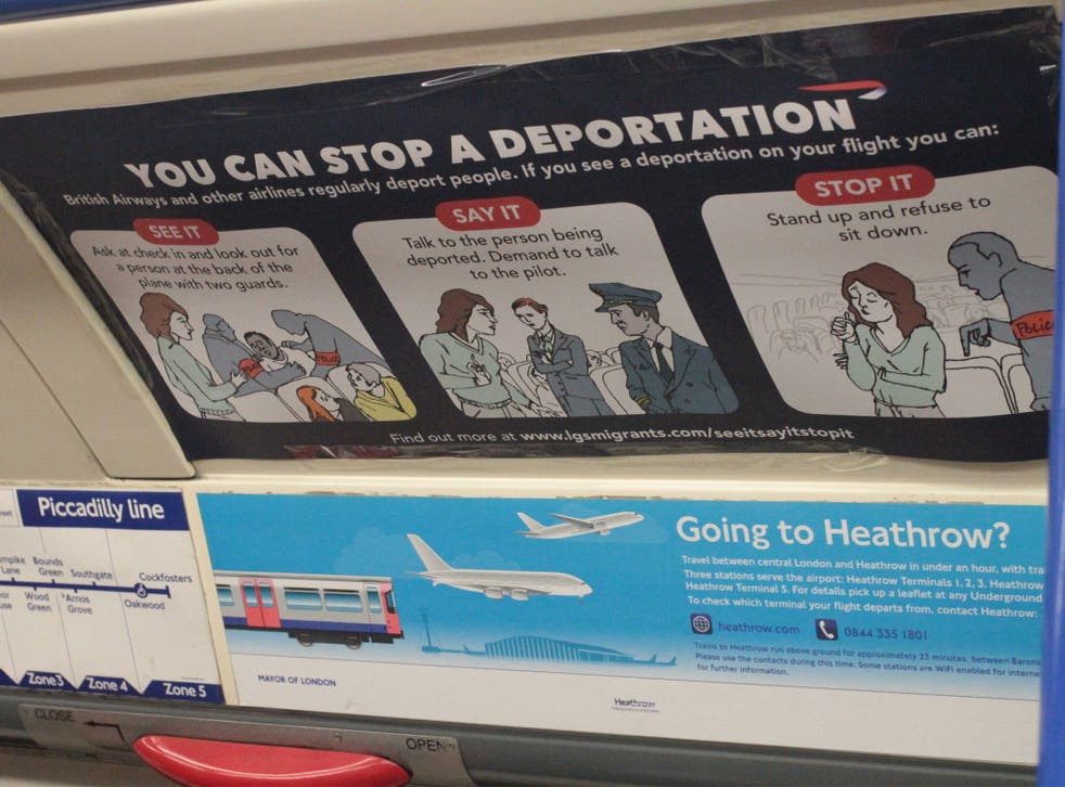 More than 200 signs were placed across three Tube lines by anti-deportation campaigners on Tuesday