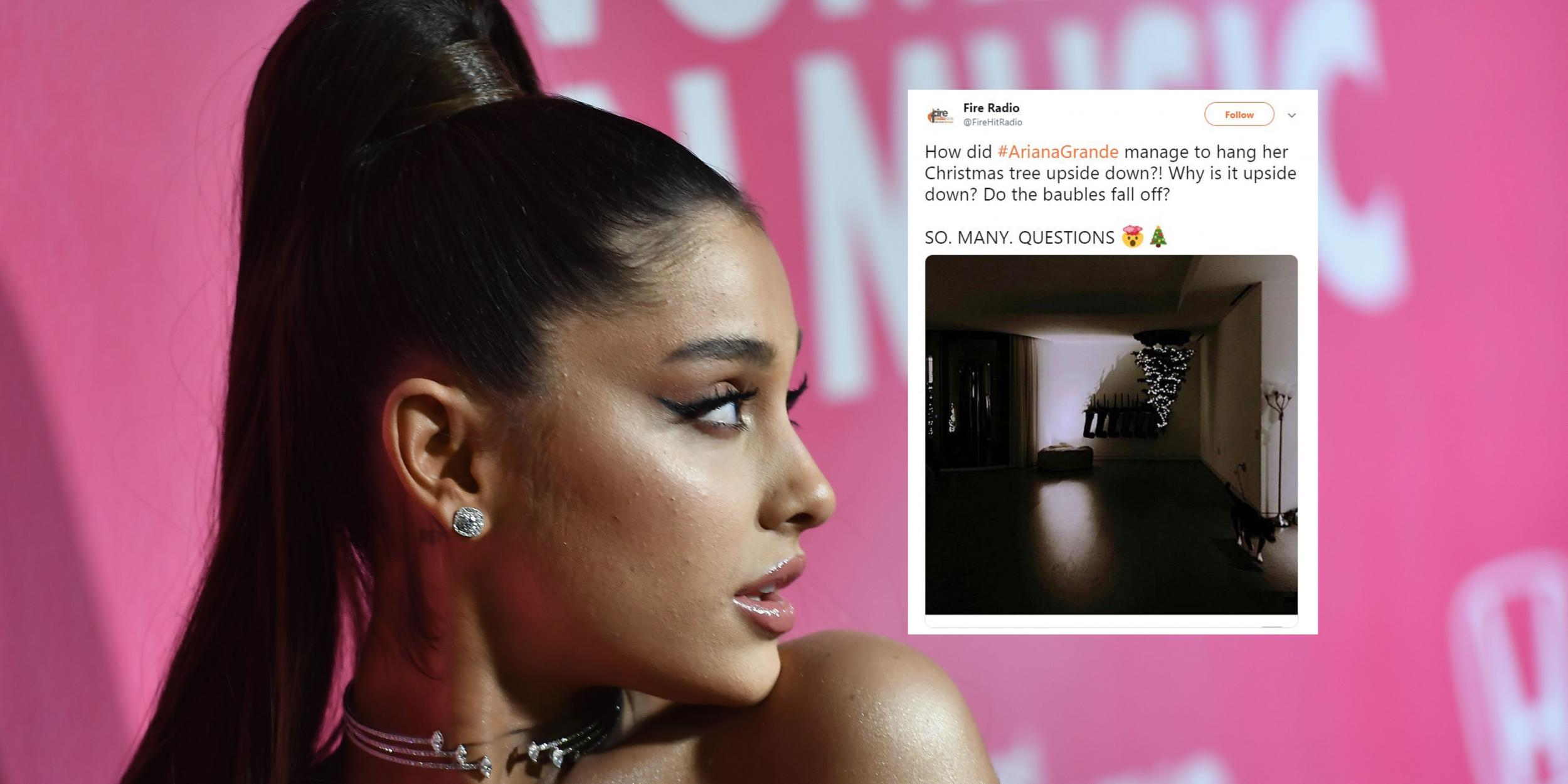 Ariana Grandes Christmas Tree Is Upside Down And People Have A Lot