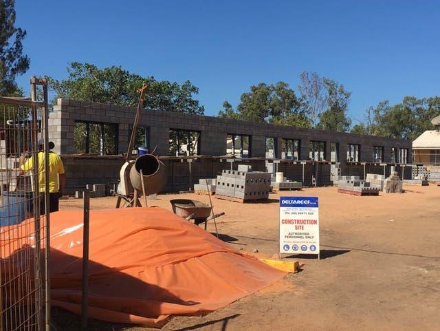 A self-funded Delta Reef Gumatj-built single men's accommodation under construction in Gunyangara