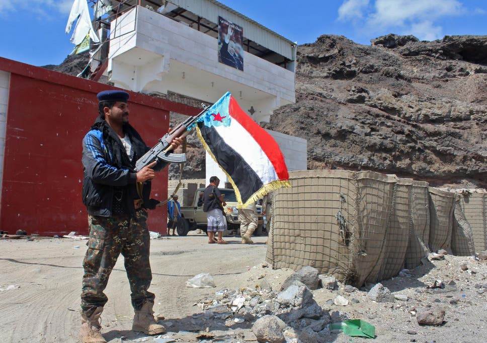 Fighters from the separatist STC take control of a pro-government checkpoint in Khormaksar, north of Aden, in January