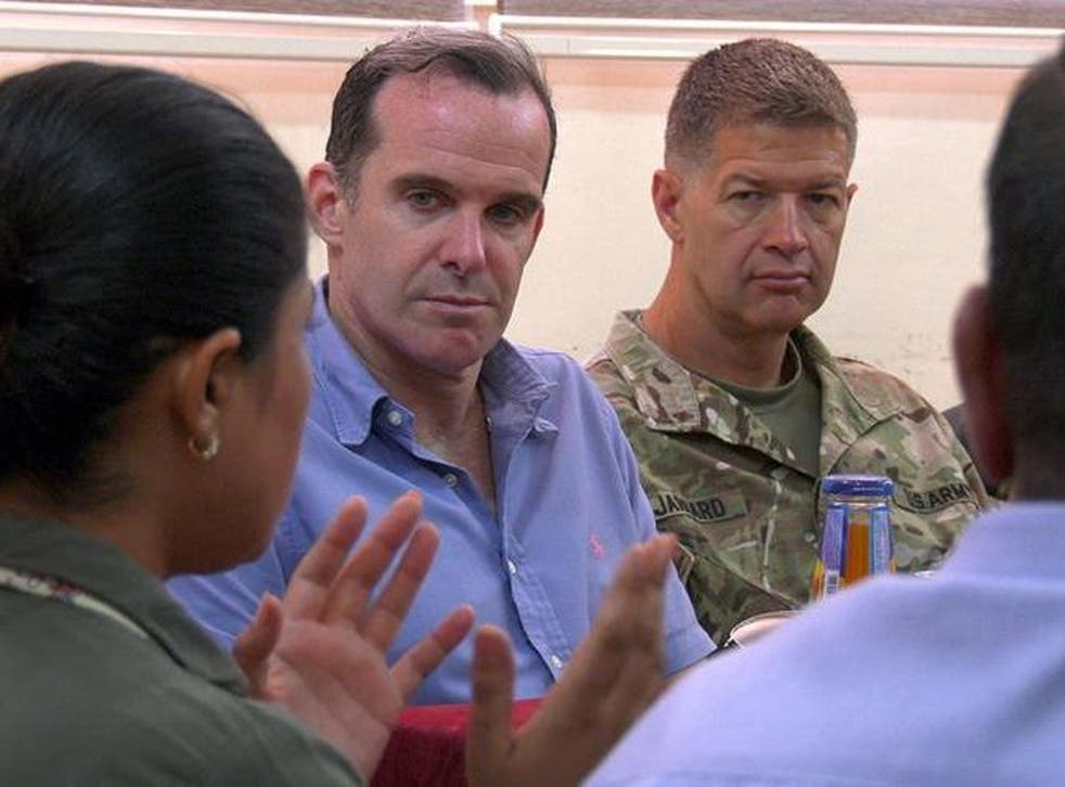 Brett McGurk, US Special Presidential Envoy for the Global Coalition to Defeat ISIS, during a visit to Syria