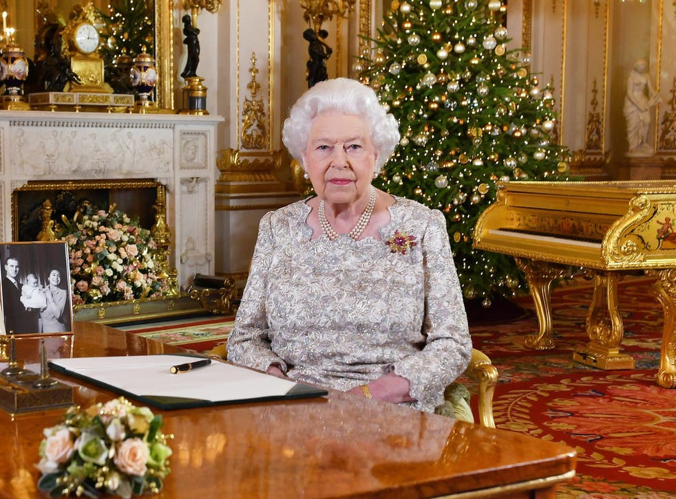 Queen Elizabeth II poses for a photo after she recorded her annual Christmas Day message, in the White Drawing Room at Buckingham Palace in London, United Kingdom