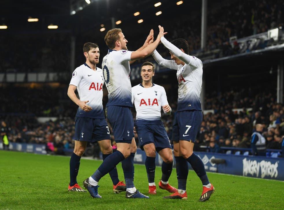 Harry Kane celebrates after scoring Tottenham's sixth