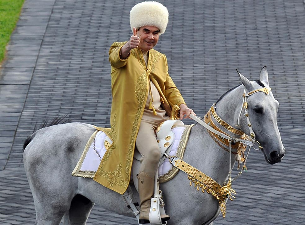 Former president Gurbanguli Berdymukhamedov astride an Akhal-Teke similar to the one gifted by his predecessor to Britain's PM in the 1990s