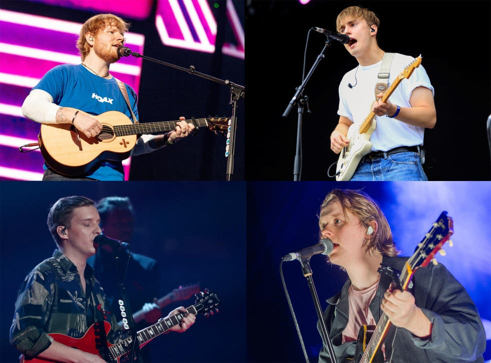 Clockwise from top left: Ed Sheeran, Sam Fender, Lewis Capaldi, George Ezra
