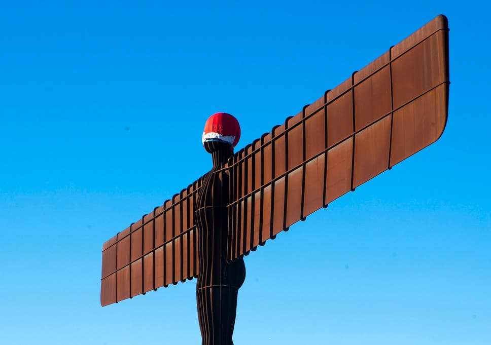 fe691aafef3fb Pranksters place Santa hat on Angel of the North in seventh attempt ...
