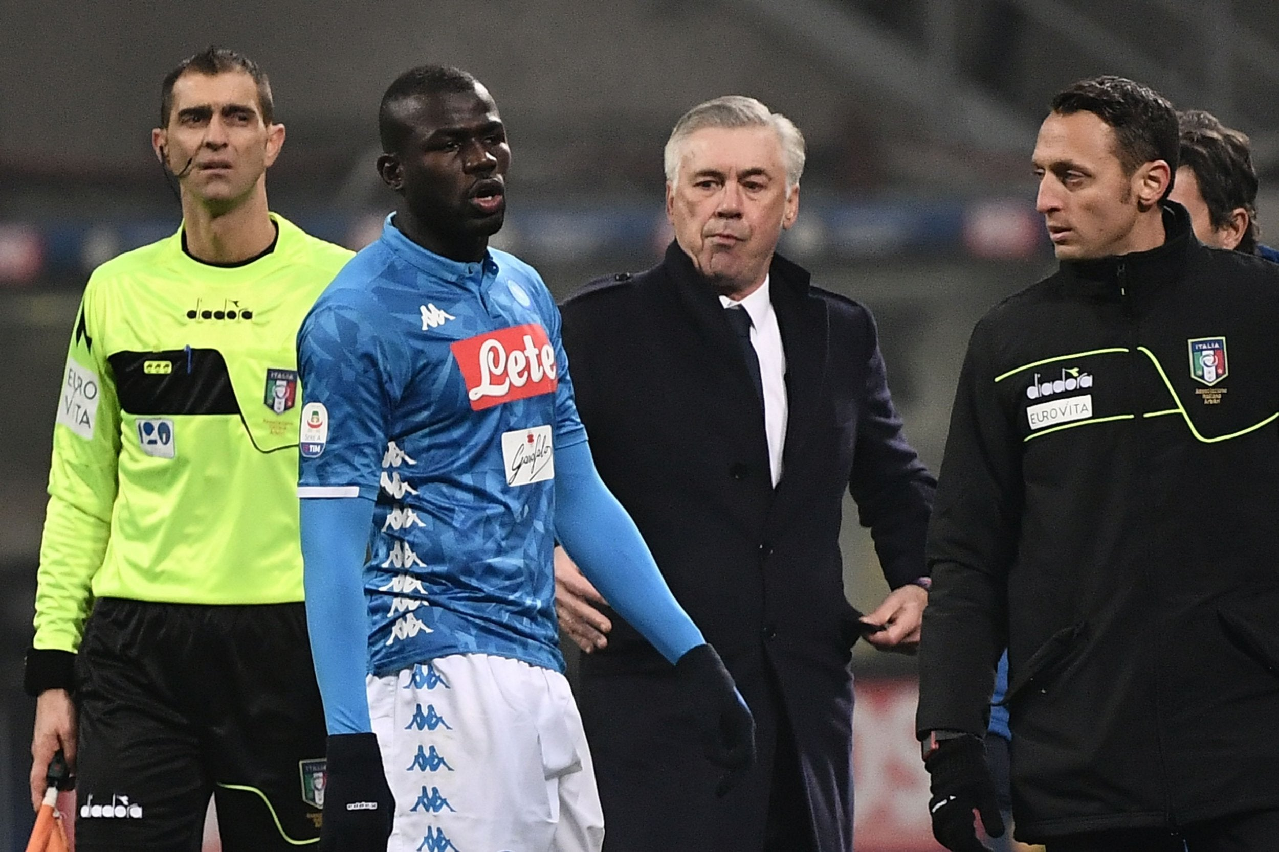 Carlo Ancelotti: Napoli will walk off if racist abuse aimed at Kalidou Koubaly by Inter Milan fans is repeated