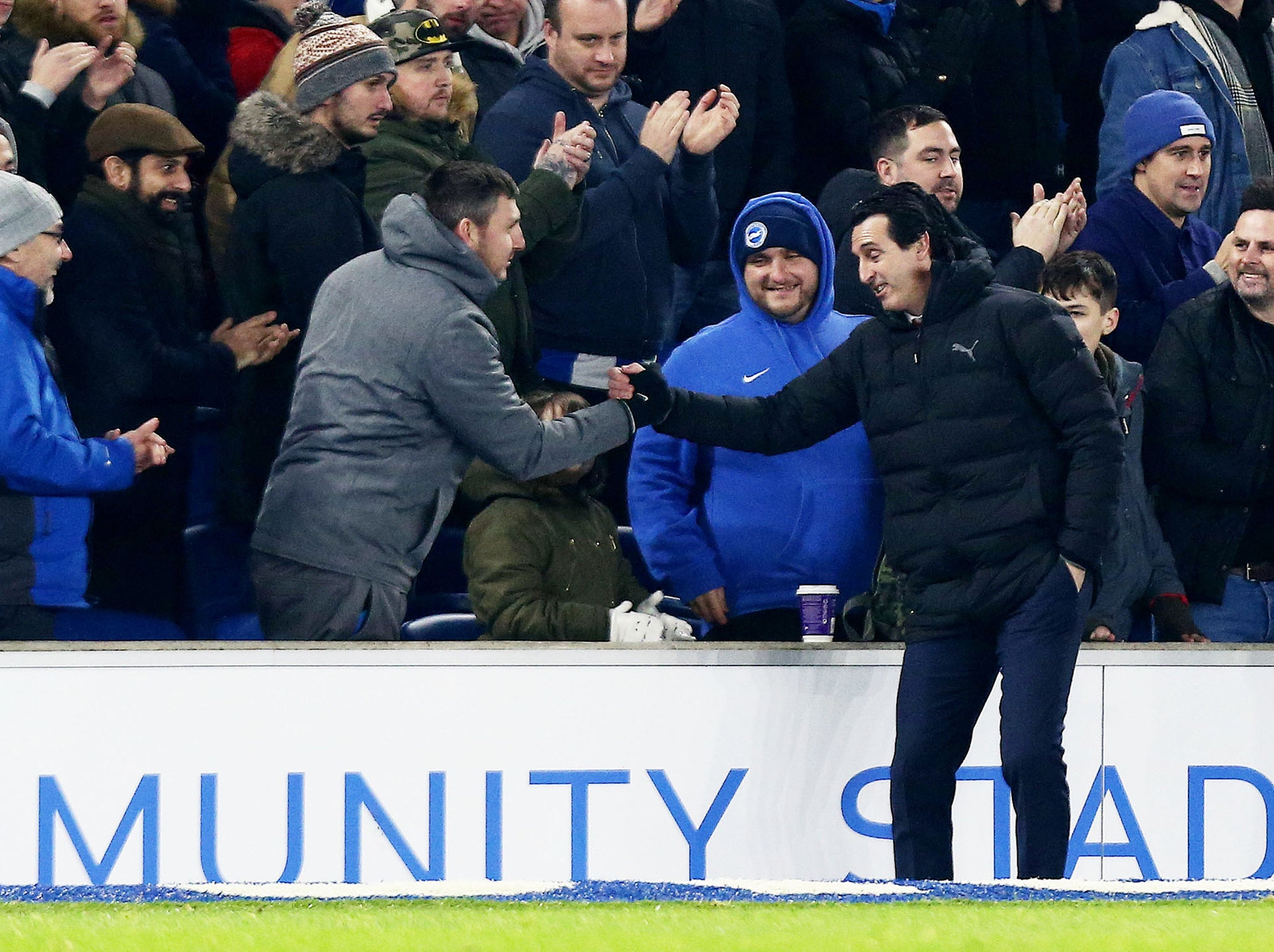 42de32d790 Arsenal news: Unai Emery charged by FA for kicking water bottle at Brighton  fan | The Independent