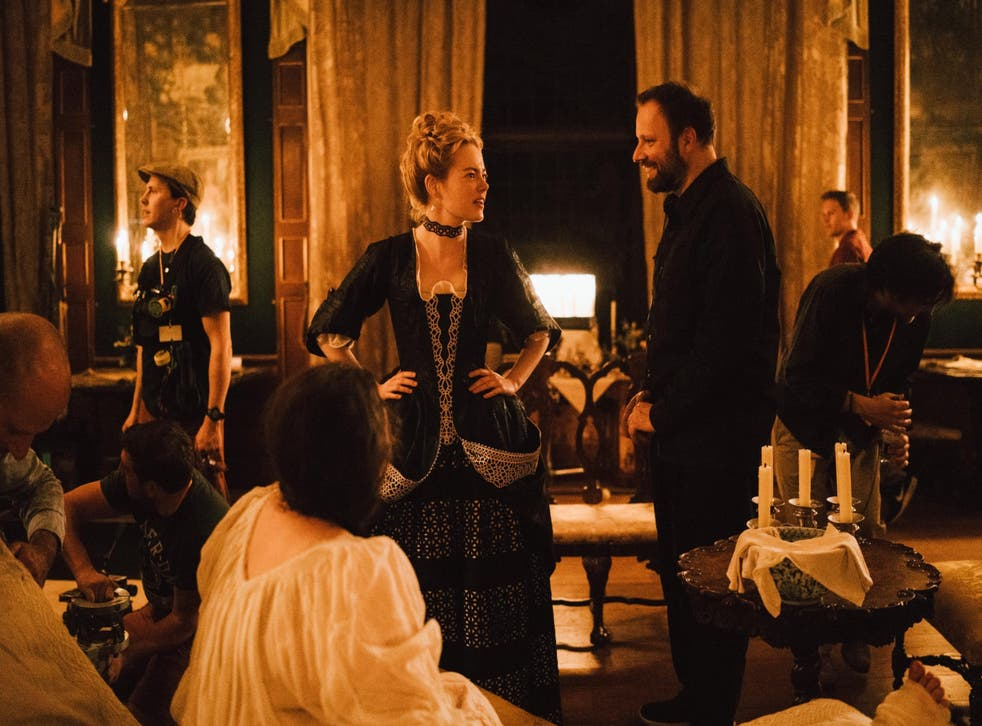 Emma Stone and director Lanthimos on the set of 'The Favourite'