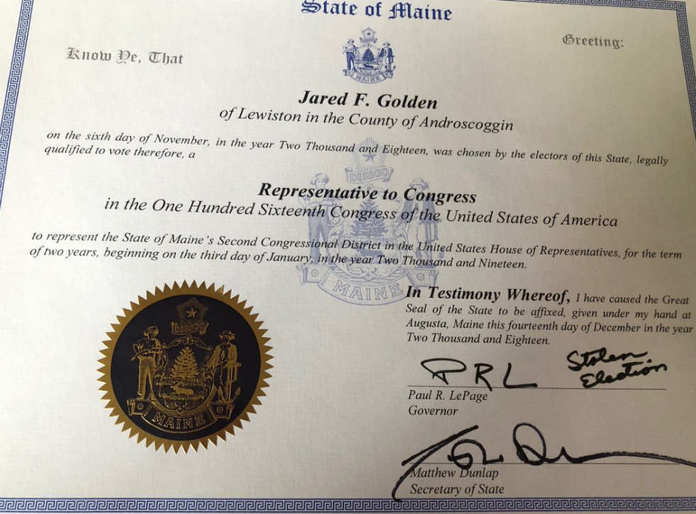 The form signed by Mr LePage to certify Mr Golden's victory