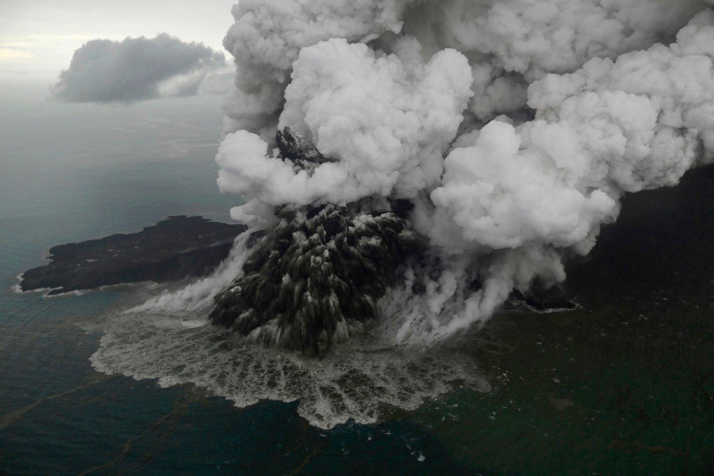 indonesia tsunami erupting volcano now a quarter of its original