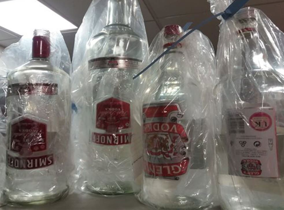 Counterfeit vodkas, such as these found by trading standards officers in Northumberland, can pose a serious health risk