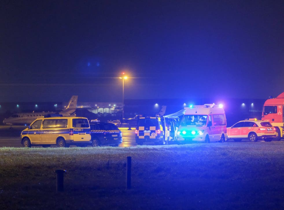 Emergency vehicles at the scene of the security alert at Hannover Airport