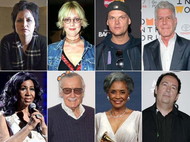 Clockwise from top left: Dolores O'Riordan, Emma Chambers, Avicii, Anthony Bourdain, Pete Shelley, Nancy Wilson, Stan Lee, Aretha Franklin