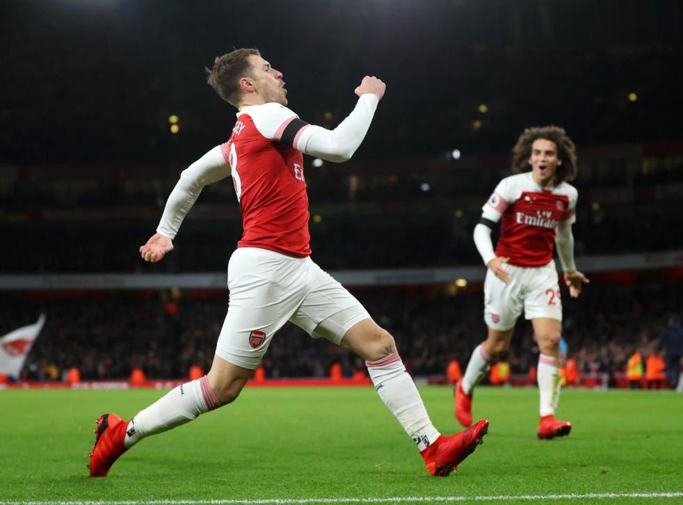 Aaron Ramsey celebrates scoring Arsenal's third goal of the game