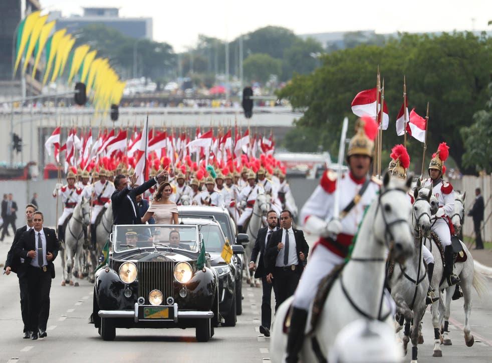 Bolsonaro acknowledges the crowd on Tuesday in the capital Brasilia