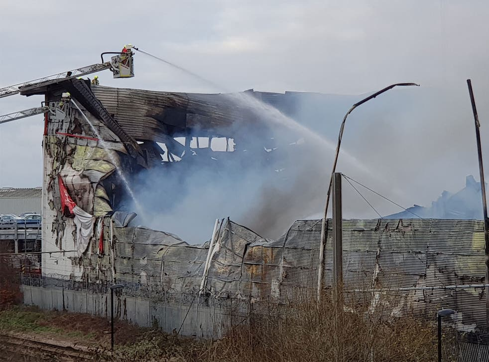 Firefighters were expected to continue fighting the blaze at a warehouse in Croydon into Tuesday evening