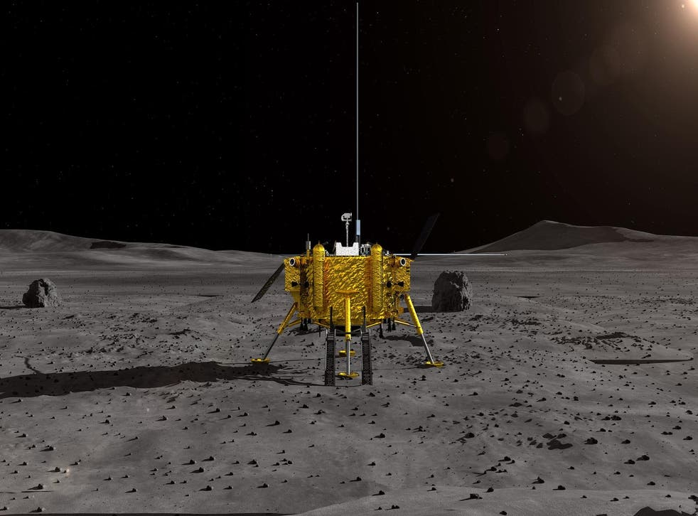 A handout photo made available by the Lunar Exploration and Space Engineering Center of China National Space Administration (CNSA) on 02 January 2019 shows an artist impression of the moon lander for China's Chang'e-4 lunar probe
