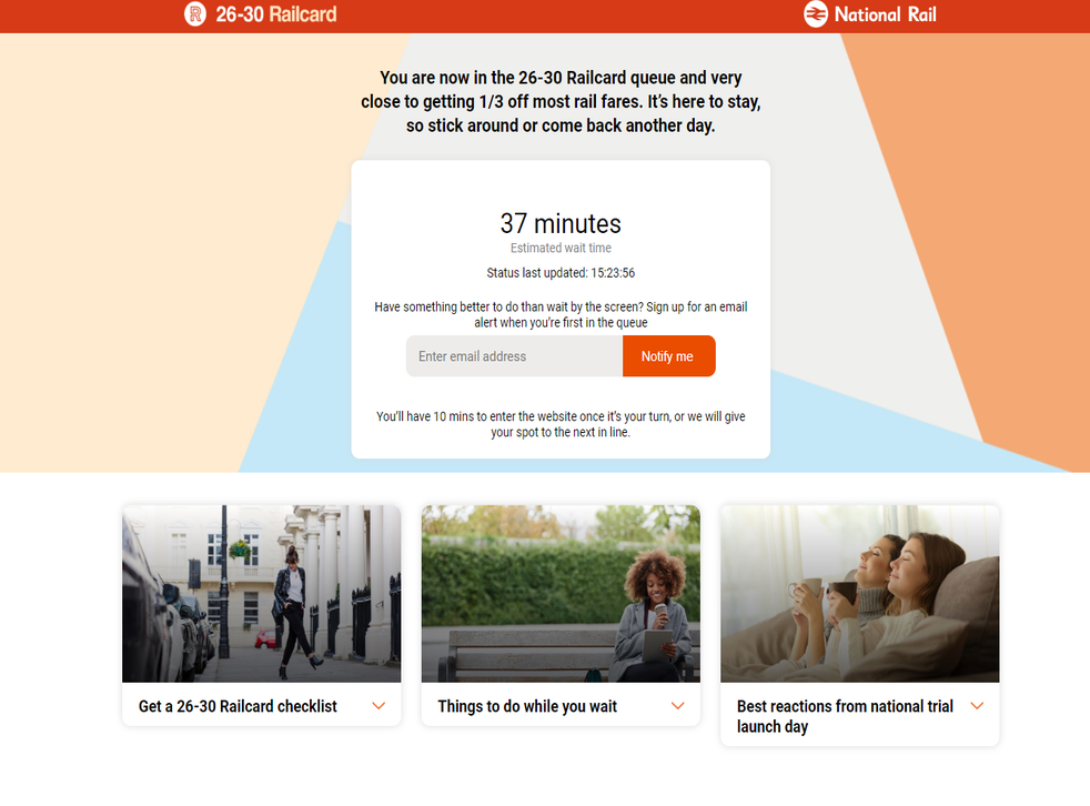 """Customers have been waiting for hours to buy the new """"millennial railcard"""""""
