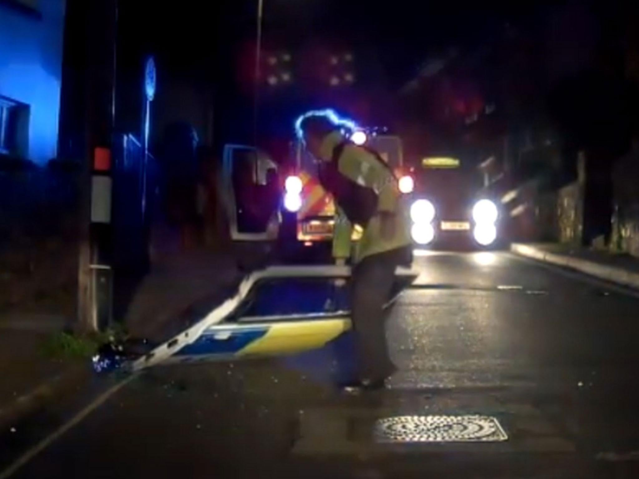 Police van door falls off in dashcam footage from Devon