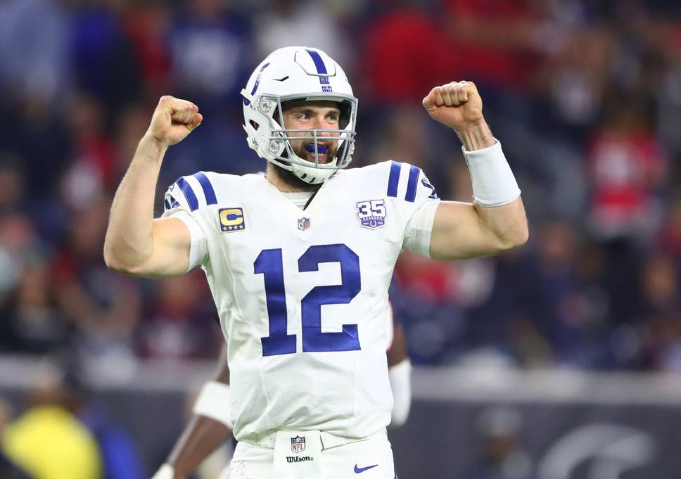 d09d2963920 Andrew Luck celebrates in the closing seconds of the Colts  win over the  Houston Texans