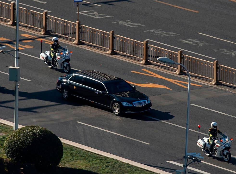 The North Korean leader's motorcade in the Chinese capital on Tuesday