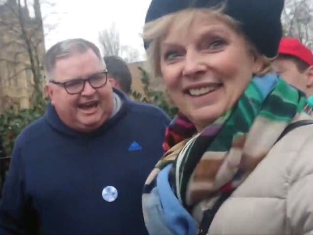 MP Anna Soubry being verbally attacked near parliament on 7 January 2019