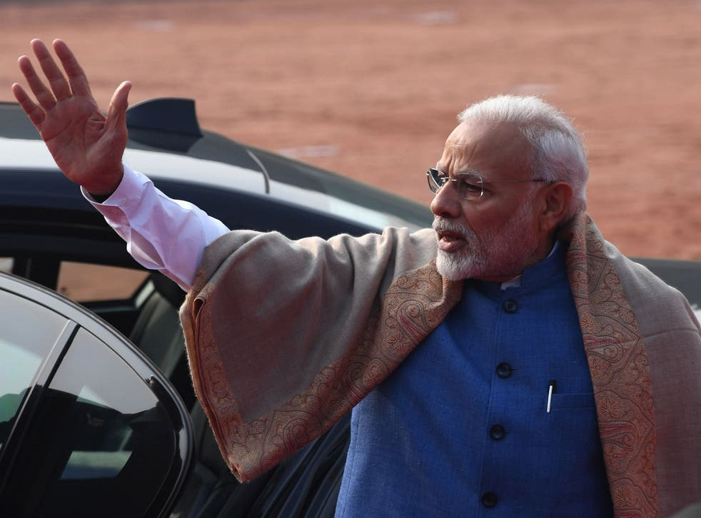 Indian prime minister Narendra Modi waves at a reception in Delhi on Tuesday