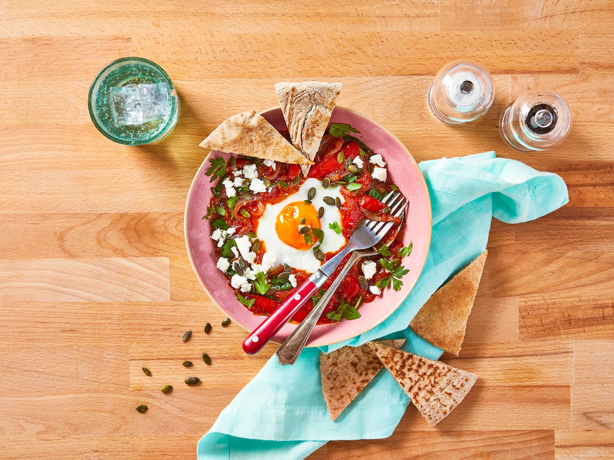 How to make spiced shakshuka with feta and crunchy pitta 1