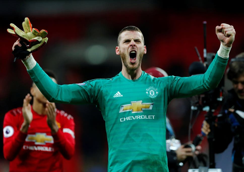 Manchester United's David de Gea celebrates after the final whistle