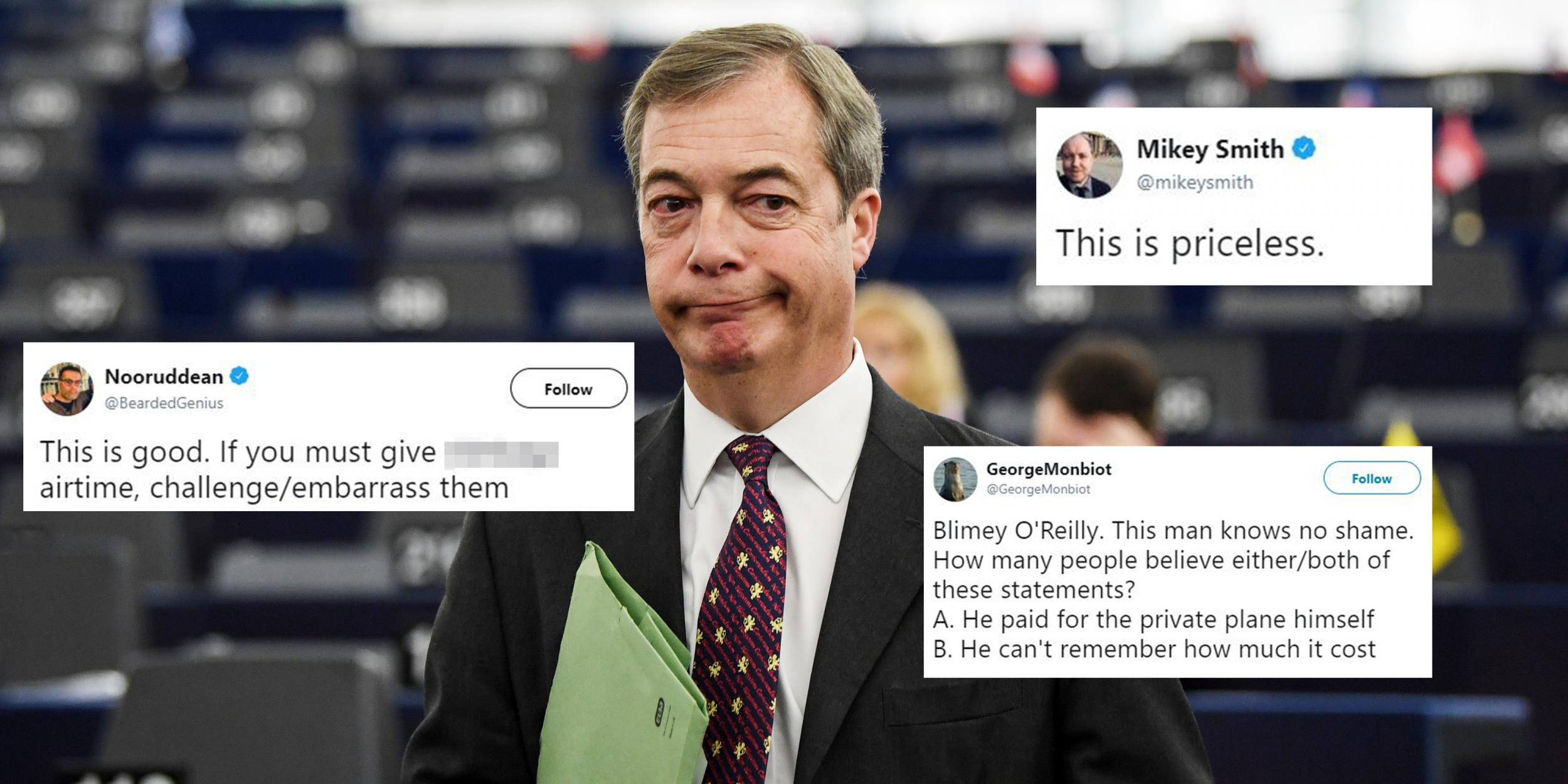 Nigel Farage was roasted by Channel 4 News for taking a private plane