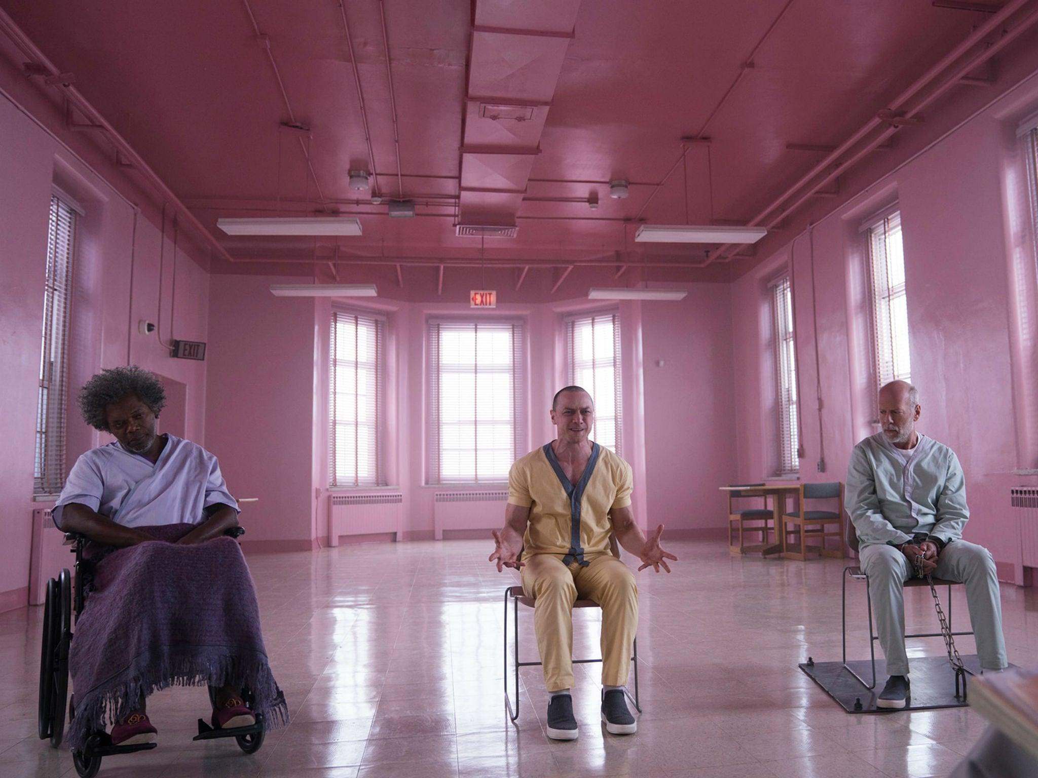 e69ffa328c8b Samuel L Jackson, James McAvoy and Bruce Willis in 'Glass' (Universal)