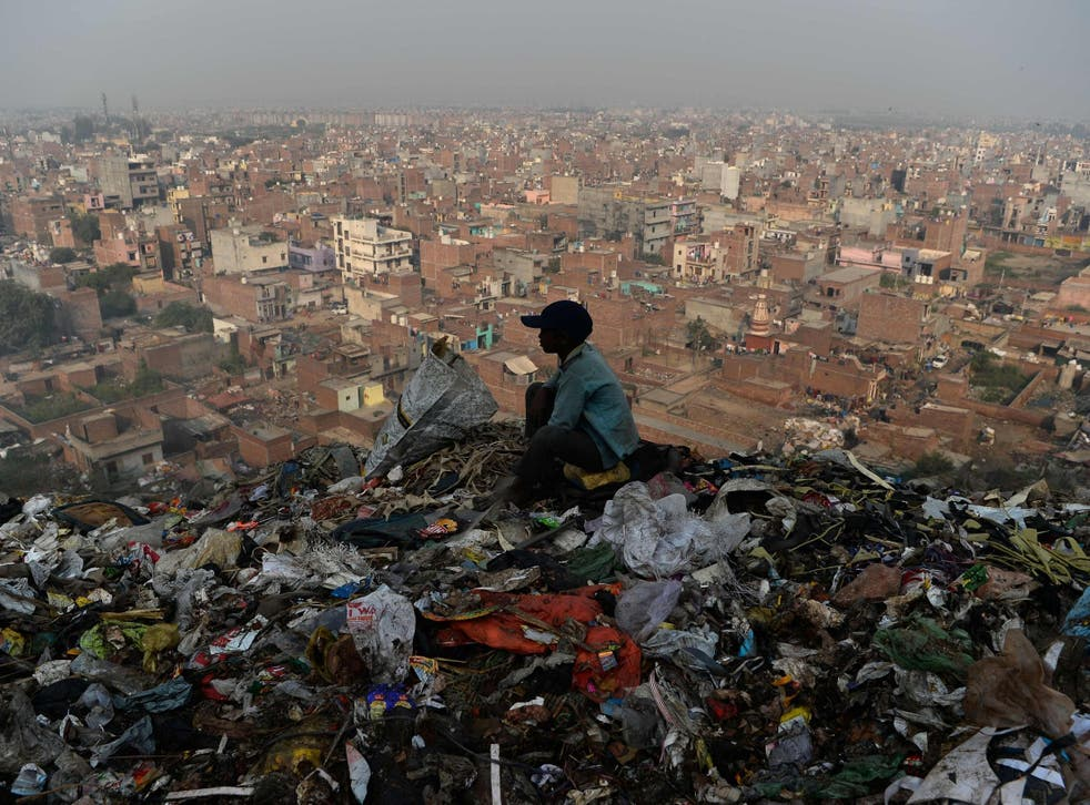 A young Indian ragpicker looks over the city after collecting usable material from a garbage dump at the Bhalswa landfill site in New Delhi