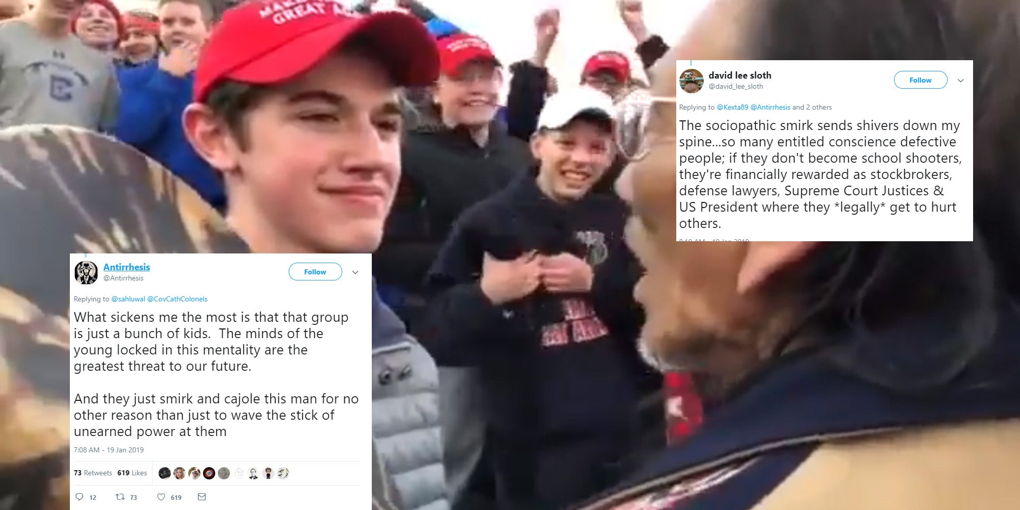 Students in Maga hats harass Native American protester