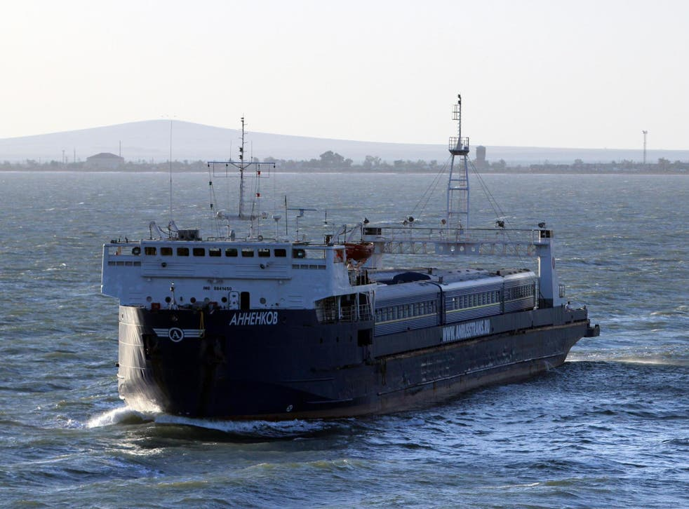 The ships caught fire in the Kerch Strait