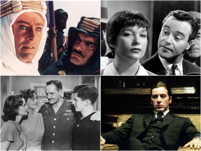 Clockwise from top right: Lawrence of Arabia, The Apartment, The Godfather Part II, The Best Years of our Lives