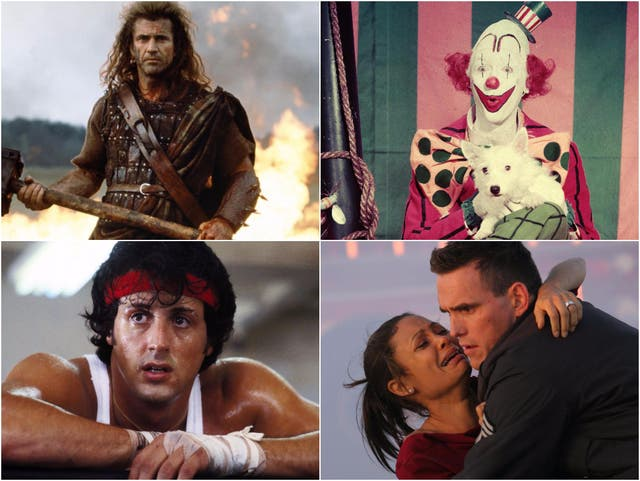 Clockwise from top right: Braveheart, The Greatest Show on Earth, Crash, Rocky