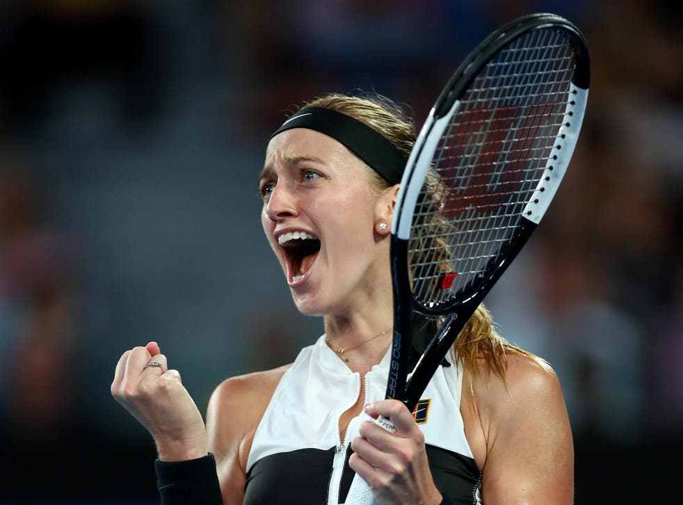 The Czech celebrates after securing her 6-1, 6-4 victory over Australia's Barty