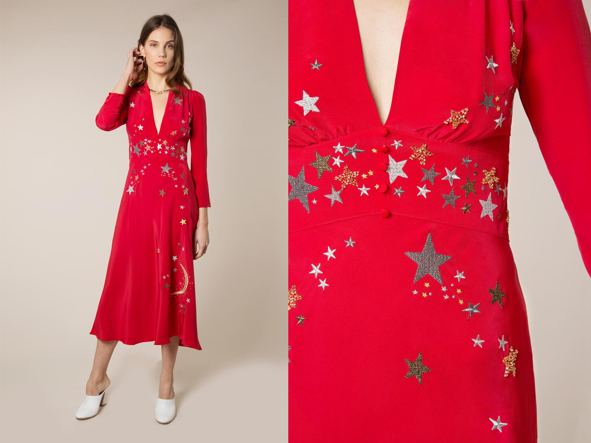 0d5233dba801 With its celestial placement print and festive red shade, this long sleeve  number is crying out for a winter wedding. The sassy v neck is low enough  to feel ...