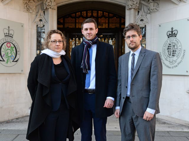 Jennifer Twite, Head of Strategic Litigation at Just for Kids Law, Christopher Stacey Co-director of Unlock, and Alex Temple, of Just for Kids Law, outside the Supreme Court in London on 30 January