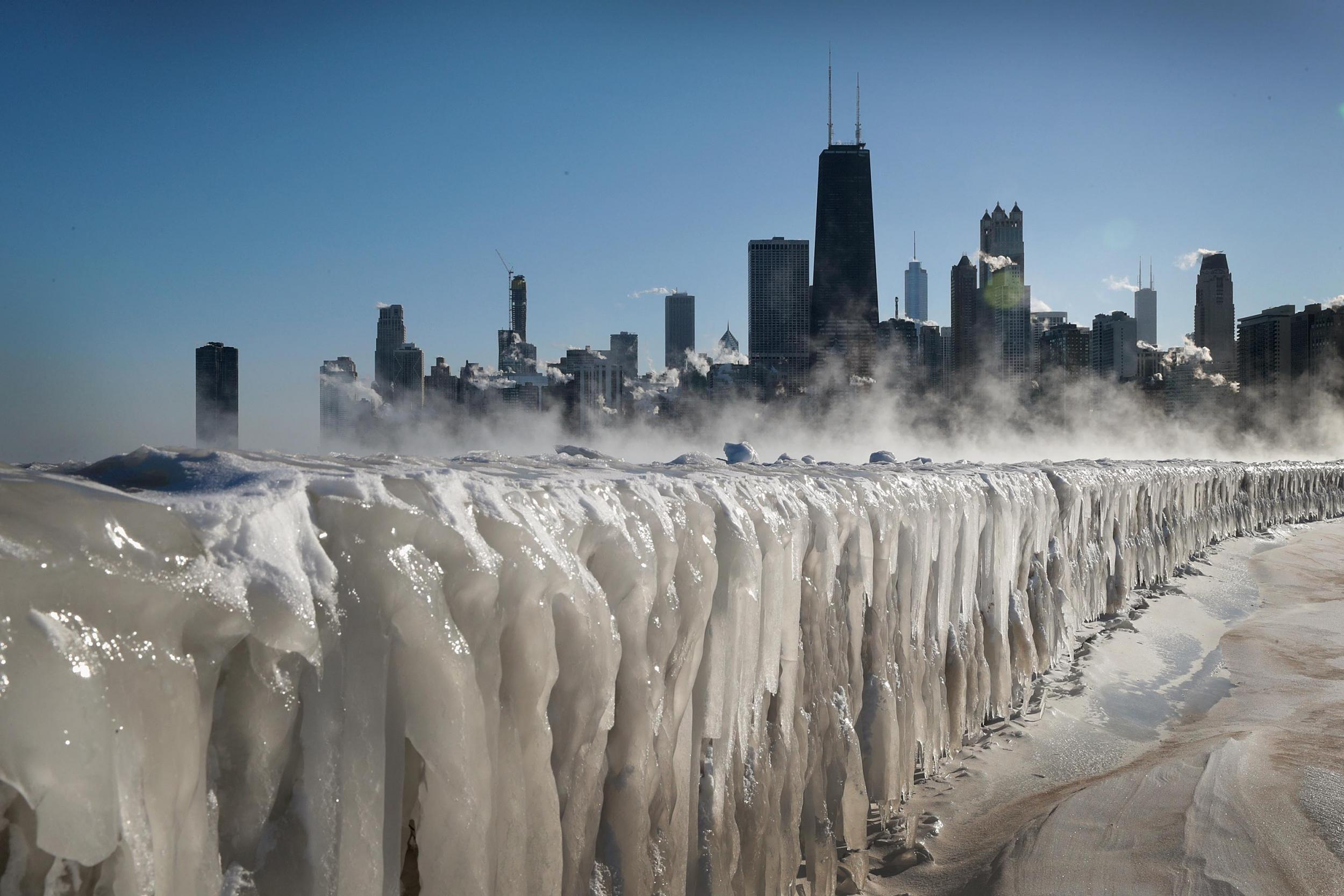 Lake Michigan has frozen over and the pictures are spectacular