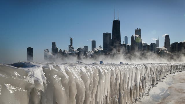 Ice covers the Lake Michigan shoreline