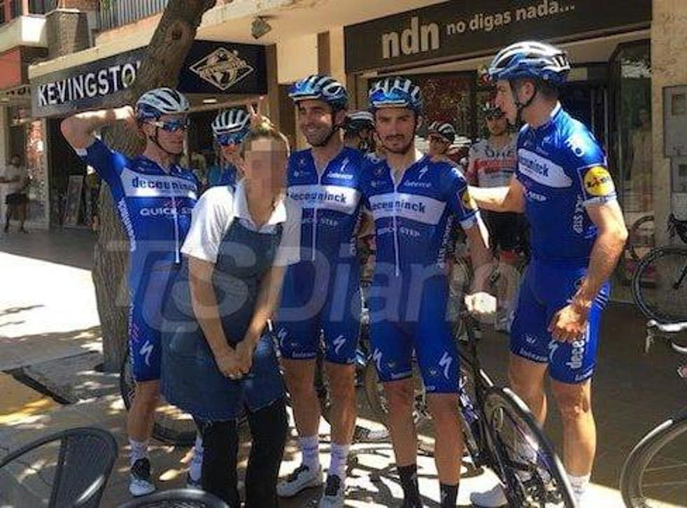Iljo Keisse, left, was disqualified from the Vuelta a San Juan