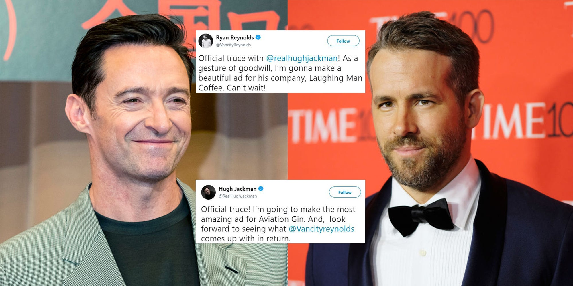 Ryan Reynolds and Hugh Jackman have announced that their 'feud' has