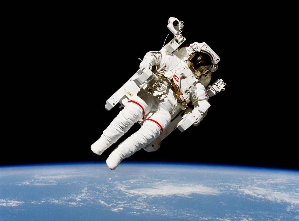 Bruce McCandless and Robert L Stewart took the first untethered spacewalk on 7 February 1984